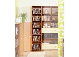 Knihovna úzká - regál Miki 12, olše