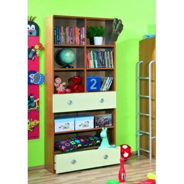 Knihovna se zásuvkami Miki 14V, olše-vanilka