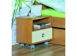 Noční stolek na kolečkách Miki 40V, třešň-vanilka