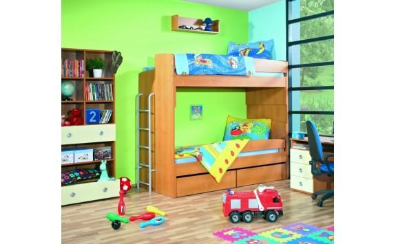 Poschoďová postel s žebříkem Miki 2035, olše