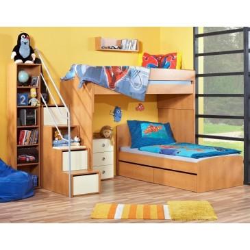Poschoďová patrová postel elko se schůdky Miki 2052, olše