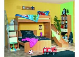 Poschoďová postel se skluzavkou 90-140x200 Miki 2067, olše