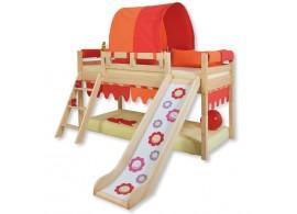 Zvýšené jednolůžko DOMINO postel se skluzavkou D905SB-OC, masiv smrk