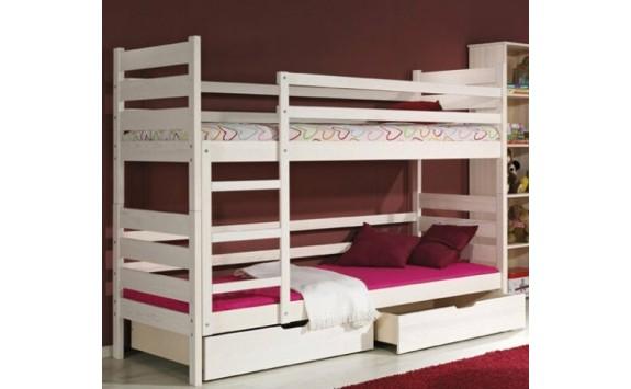 Dětská patrová postel se zábranou a úložným prostorem DAVÍDEK, masiv borovice