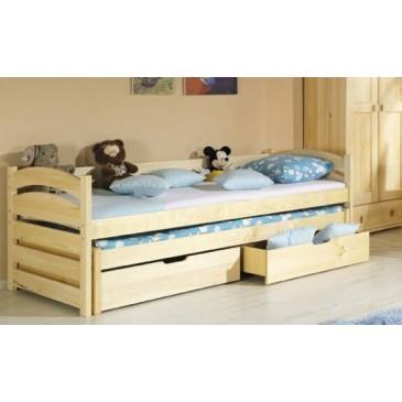 Rozkládací postel s přistýlkou a úložným prostorem TONIČKA, masiv borovice