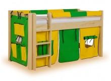 Dětská postel s domečkem - zvýšené jednolůžko LUCAS, masiv smrk