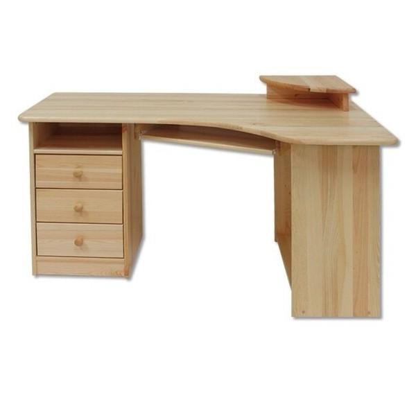 Rohový psací PC stůl DREW-105, masiv borovice