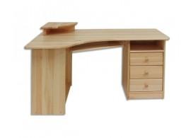 Rohový psací PC stůl DREW-104, masiv borovice