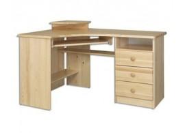 Rohový psací PC stůl DREW-107, masiv borovice