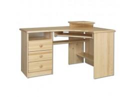Rohový psací PC stůl DREW-108, masiv borovice