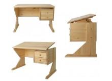 Rostoucí polohovací psací stůl DREW-116, masiv borovice