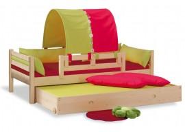 Dětská postel jednolůžko DOMINO se zábranou D902 - RZ, masiv smrk