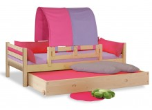Dětská postel jednolůžko DOMINO se zábranou D902 - RF, masiv smrk