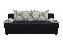 Rozkládací pohovka s úložným prostorem ALVINA černobílá - dvojmístná, 195 cm