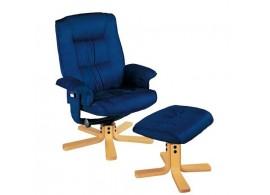Relaxační a masažní křeslo s podnožkou IAK37, modré