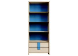 Knihovna - policový regál REG2S/80, dub-modrá