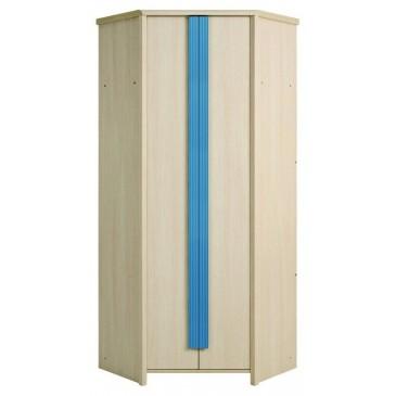 Rohová šatní skříň SZFN2D, dub-modrá