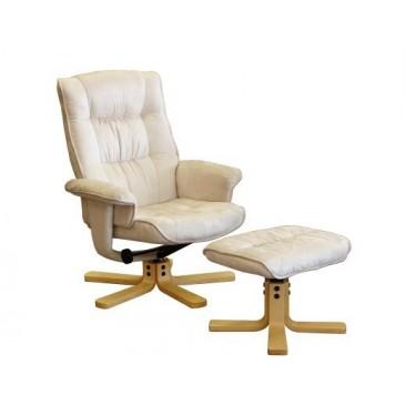 Relaxační a masažní křeslo s podnožkou IAK36, béžové