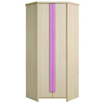 Rohová šatní skříň KAP-SZFN2D, dub-růžová