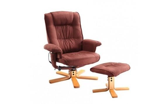 Relaxační a masažní křeslo s podnožkou IAK47, hnědé