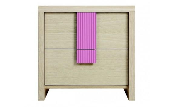 Noční stolek KOM2S, dub-růžová