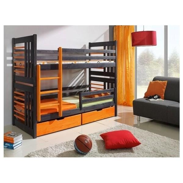 Dětská patrová postel s úložným prostorem ROMAN, masiv borovice