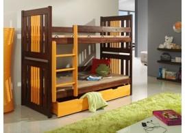 Dětská patrová postel s úložným prostorem KORNELIE, masiv borovice
