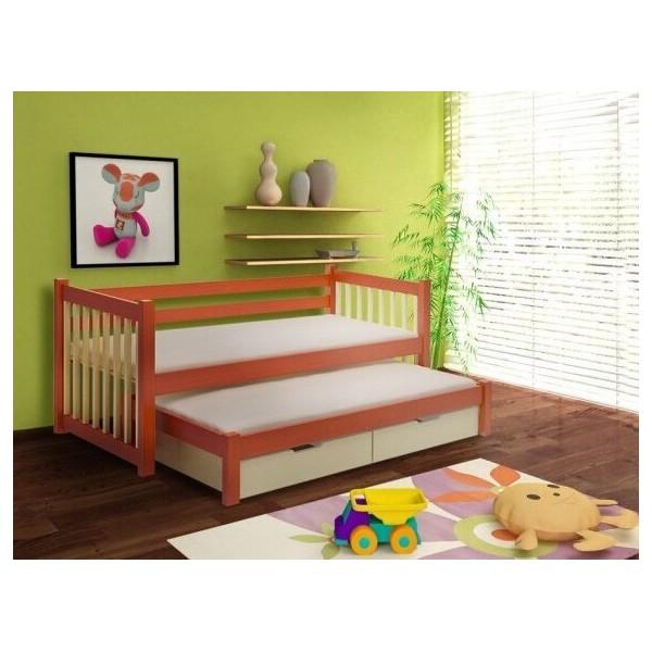 Dětská postel s přistýlkou a úložným prostorem KÁJA, masiv borovice