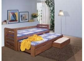 Dětská postel s přistýlkou a úložným prostorem TOMÍK, masiv borovice
