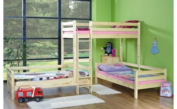 Poschoďová postel pro 3 děti KALIMERO-2080/R, masiv smrk