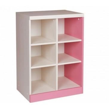 Knihovna - policový regál CR102, růžová-bílá