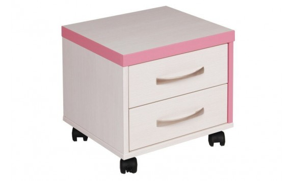 Kontejner k psacímu stolu CR052, růžová-bílá