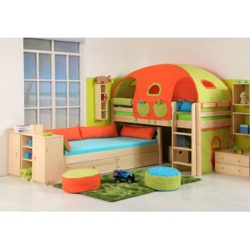 Dětská zvýšená postel - elko posuvné DOMINO D937, masiv smrk