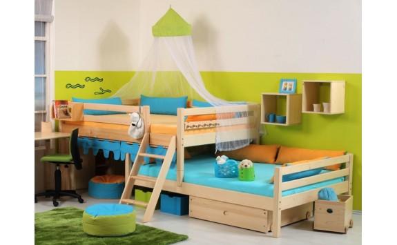 Zvýšená postel - jednolůžko posuvné 140x200 DOMINO D939, masiv smrk