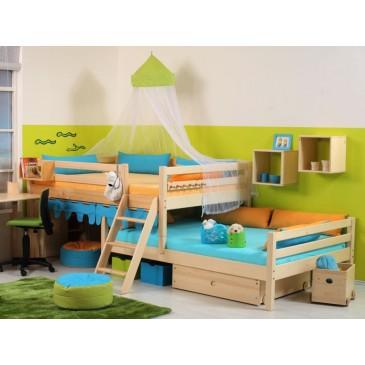 Zvýšená postel - jednolůžko posuvné 140x200 DOMINO D939, masiv ...