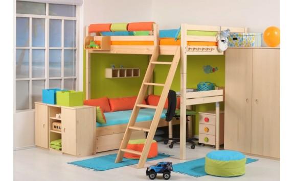 Dětská postel - palanda elko 140x200 DOMINO D956, masiv smrk