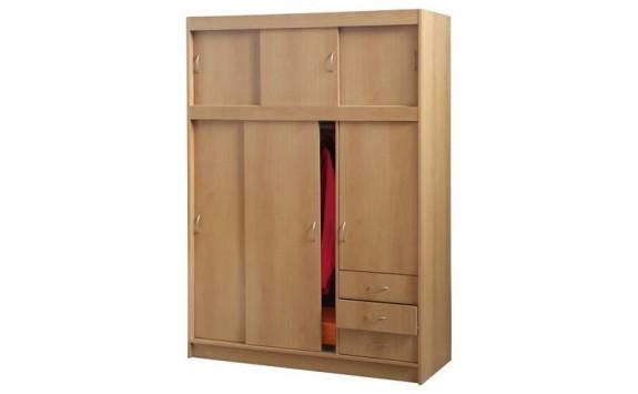 Šatní skříň třídvéřová s nádstavcem IA3000A, buk