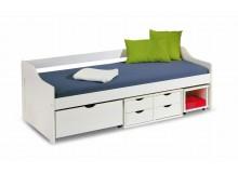 Zvýšená postel s úložným prostorem IA8809B, borovice-bílá
