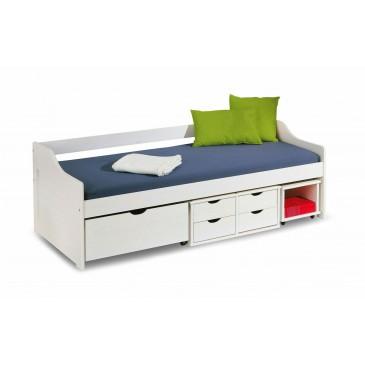 Bílá postel 140×200 s úložným prostorem
