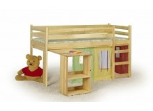 Dětská zvýšená postel s domečkem EMILY, masiv borovice