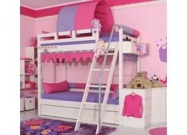 Poschoďová postel - palanda DOMINO D906 - RF, masiv smrk - bílá