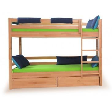 Dětská poschoďová postel - palanda DOMINO D856/BC nízká, masiv buk