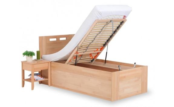 Zvýšená postel - jednolůžko s úložným prostorem VALENCIA senior 90x200, masiv buk