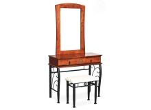 Toaletní stolek CS4034 se zrcadlem, dřevo kov