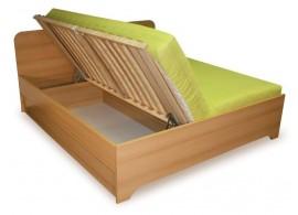Manželská postel s úložným prostorem, boční výklop OTO 160x200, 180x200