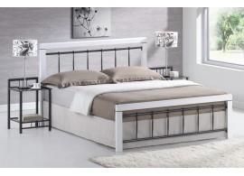 Manželská postel dvoulůžko BERGEN, dřevo-kov, 160x200