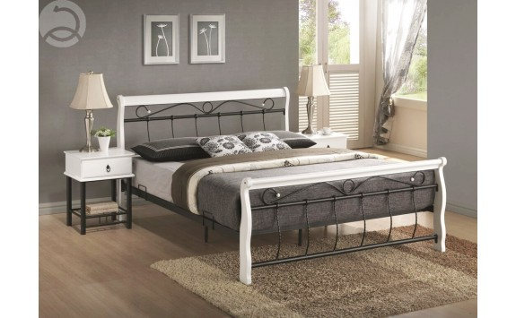 Manželská postel dvoulůžko CS4013, dřevo-kov, 160x200, bílá-černá