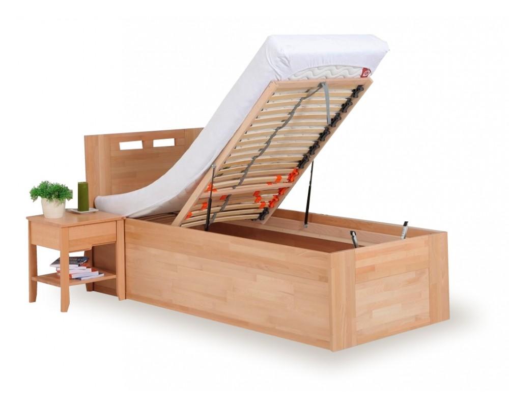 Zvýšená postel - jednolůžko s úložným prostorem VALENCIA senior, čelní výklop, masiv buk