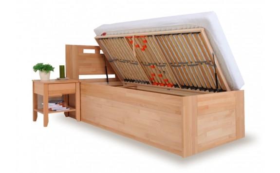 Zvýšená postel - jednolůžko s úložným prostorem VALENCIA senior, boční výklop, masiv buk