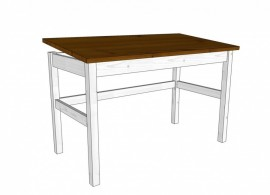 Náklopný stůl Mario 170W-bílo-hnědý, masiv smrk